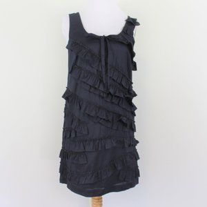 J Crew Navy Blue Sleeveless Ruffle Dress 0 XS
